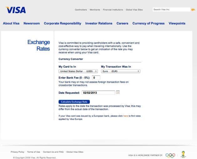 Visa Input Page