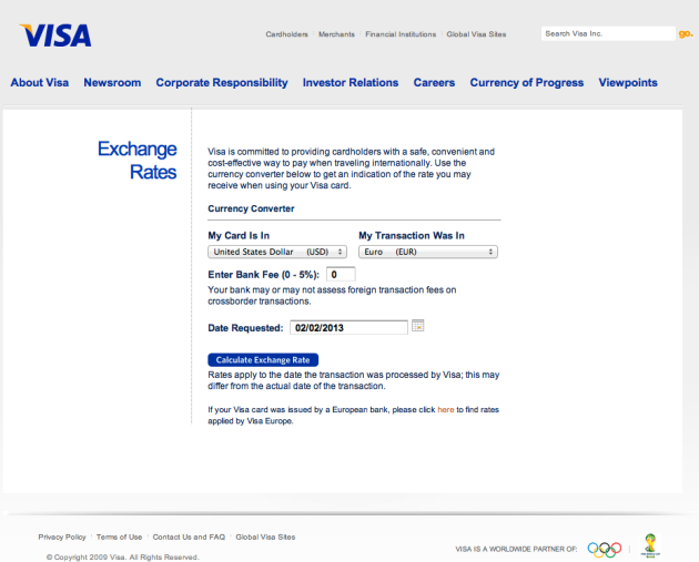 Visa forex exchange