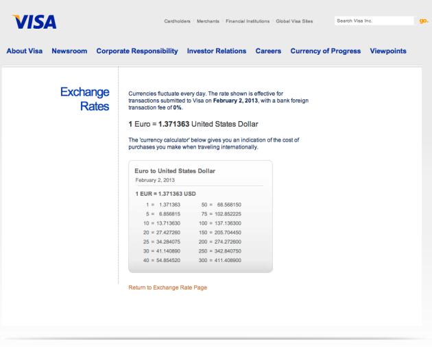 Visa Output Page